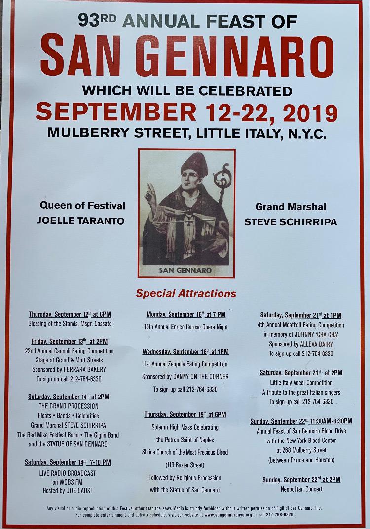 San Gennaro Festival New York 2020.The Feast Of San Gennaro